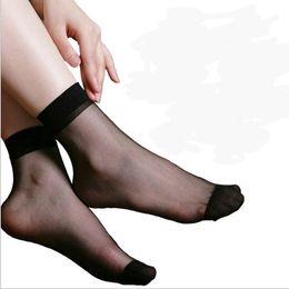 Wholesale Short Silk Socks - Wholesale-20pairs Women's Socks Short Summer Sexy Ultrathin Crystal Silk Transparent Socks For Women Nylon Skin Invisible Socks Women