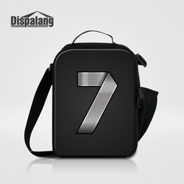Wholesale Pack Lunch Bag Black - Cool Custom Lunch Bag For Children Portable Food Packing Bags Personality Metal Number Printing Thermal Lunch Bags Men Picnic Food Lunch Box