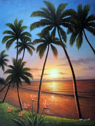 Wholesale painted paradise - Framed Hawaii Sunset Beach Palms Bird Of Paradise,Pure Hand-painted Seascape Art Oil painting On Thick Canvas,Multi sizes,Free Shipping J025