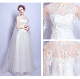 Wholesale Smallest Make Ups - Small Round Neck A Word Skirt Wedding Dress Beautiful Elegant Lace Wedding Dresses Shoulder Appliques Sleeveless Court Train Bridal Gowns