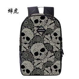 Wholesale Pink Laptops For Girls - Wholesale- Novel Skull Backpack Women School Bags For Teenagers Girls Back Pack Rugzak Laptop Backpack Travel Bags sac a dos
