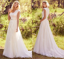 Wholesale Modest Wedding Dress Belt - 2017 New Summer Beach Modest Wedding Dresses Cap Sleeves V Neck Buttons Back Beaded Belt Country Bohemian Bridal Gowns Elegant Wedding Gowns