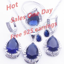 Wholesale Blue Topaz Necklaces - 925 Sterling Silver Drop Blue Sapphire Jewelry Set White Topaz Surrounding For Women Free Jewelry Box Free Shipping