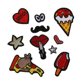 Wholesale Cheap Iron Appliques - Mix 10PCS Cheap Cute Patches Embroidered Iron on Applique Military Patch For ClothIing DIY Appliques Accessory DIY Stricks