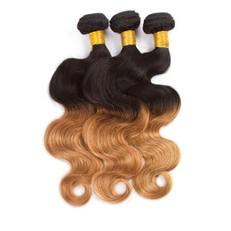 Wholesale Remy Fashion Hair Extension - 3 Bundles Deals Malaysian Body Weave Fashion Style #1B 27 Ombre Human Hair Malaysian Body Wave 2 Tone Ombre Hair Extensions Ombre Body Wave