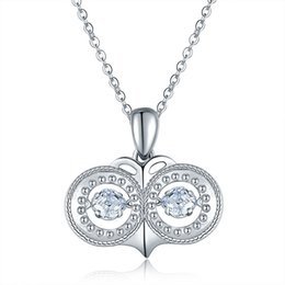 Wholesale Round Solitaire Diamond Pendant - Two Round Eyes Silver Pendant Necklace Real Silver Plated Chain Swarovski Diamond Necklace Symbolizing Dream Necklace For Women 022-NE0146