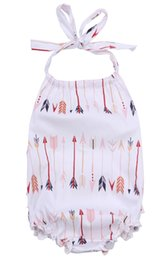 Wholesale Cute Clothes For Girls 3t - 2017 Fashion Romper for Kids Summer Cute Baby Clothes Infant Girls Halter straps Belt Rompers Girls Jumpsuit Sets One-piece Outfits Bodysuit