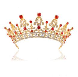 Cristal rojo boda nupcial quinceañera tiaras coronas adorno para el cabello para las mujeres novia baile de oro corona cabeza accesorios de joyería desde fabricantes