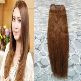 Pelo malayo virgen marrón recto online-Uunprocessed Virgin Malaysian Straight Hair Weaven bundles # 6 Medium Brown 100g Malasia extensiones de cabello humano bundles 1 UNIDS