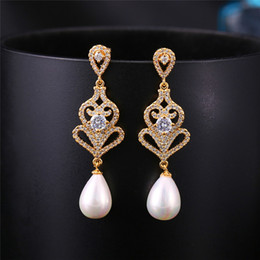 Wholesale Silver Plated Earring Posts - Vintage Wedding Bridal Earrings Teardrop Pearl Baroque Style Cubic Zirconia Post Earring Silver Gold Bridal Jewelry Wedding Earrings