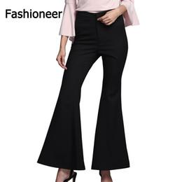 Wholesale Loose Trousers For Women - Fashioneer Flare Pants for Women Black Loose 2017 Slim Fashion High Waist Office OL Style Work Wear Skinny Pants Female Elegant Trousers
