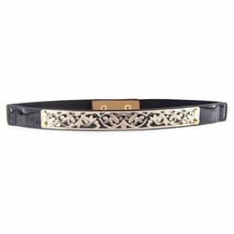 Wholesale wholesale carved leather belts - Wholesale- Black Stylish Flower Carved Openwork Elastic Slender Waist Belt For Women 72*2.3cm