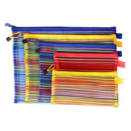 Wholesale a4 paper folder - A4 Size 33.5*24cm Rainbow Stripe Zipper Folder Documents File Organizer Storage Bag For Papers Cosmetic ZA3944