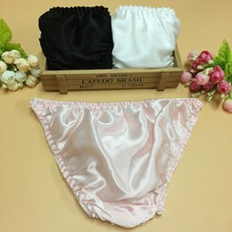 Wholesale Womens Cute Panties - Women's Panties 100%silk womens underwear 10pcs lot sexy ladys bikini underwear lace with bow cute