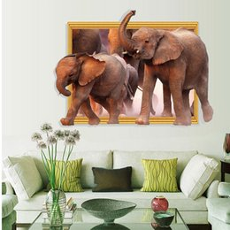 Wholesale Elephant 3d Stickers - Hot New Removable 3D elephant wall stickers animal series self adhesive wallpaper sticker 60*90CM size Vivid living