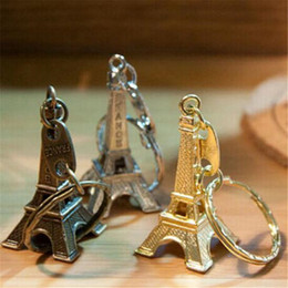 Wholesale Eiffel Tower Keyrings - Couple Lovers Key Ring Advertising Gift Keychain Alloy Retro Eiffel Tower Key Chain Tower French France Souvenir Paris Keyring for Cars