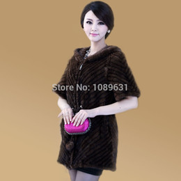 Wholesale Knit Mink Fur Coat - New Fashion Real Genuine Fur Natural Knitted Mink Coat Women Outerwear Coats Jackets Winter Knitting Clothes Parka