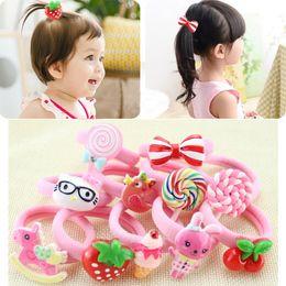 Wholesale Band Cherry - Cute Girl Cartoon Fruits Animal Hair Rope Ring Cherry Strawberry Rabbit Elastic Rubber Band Kids Adults Headdress Hair Accessories xz54