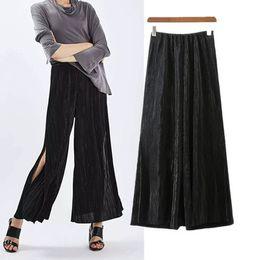 Wholesale Tapered Spring - 2017 new casual Spring Summer Loose Black Transform Wide-Legged Split Full Length Pants Tapered Shape Female Women
