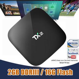 Wholesale Google Smart Media Tv - 2GB 16GB Android Box TX2 RK3229 Quad Core Media Box KD16.1 Fully Loaded Smart TV Box 6.0 support BT2.1 WIFI DLNA 4K H.265 H.264 HD2.0