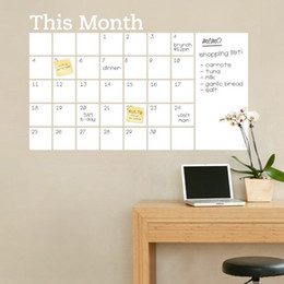 Wholesale Carved Wall - White Board Stickers PVC Beautify Dry Erase Calendar Wall Decal Blackboard Carved Sticker This Month Arrange Schedule Useful 14dz F R