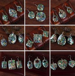Wholesale Beautiful Shell Jewelry Wholesale - 2017 New Women Beautiful Natural Abalone Shell Dangle Earrings Reiki Pendulum Pendant Sets Charms European Fashion Jewelry