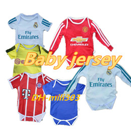 Wholesale Baby Fan - 2018 New Real Madrid Baby soccer Jersey Cotton Short Sleeved Jumpsuit Baby Triangle Climb Clothes Loveclily 17 18 Ronaldo baby's fans shirt