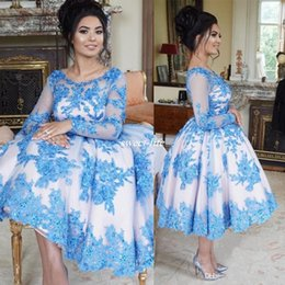Wholesale Round White Coral - Elegant Tea Length Blue Party Dresses Cocktail Gowns Round Neck Beaded Crystals Formal Guest Dress Graduation Gowns Dubai Saudi Arabia 2017