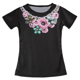Wholesale Cheap Wholesale Vintage Clothing - Wholesale-Cheap Vintage Summer Women T Shirts Necklace Flower Print Woman Clothing Girl Ladies Camisetas Round Neck Top Tees Short Sleeve