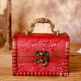 Wholesale Wholesale Decorative Storage Boxes - Decorative Trinket Jewelry Storage Box Handmade Vintage Wooden Treasure Case Retro Wedding Candy Gift Box wen4754