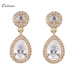 Wholesale Big Crystal Earrings For Bridal - Classic big water drop luxury cubic zirconia cz jewelry crystal earrings wedding bridal dangle earrings for women party gifts 2017