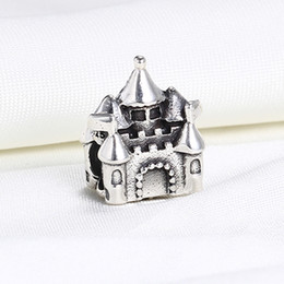 Wholesale Pandora Castle - Wholesale Real 925 Sterling Silver Not Plated Castle European Charms Beads Fit Pandora Snake Chain Bracelet DIY Jewelry