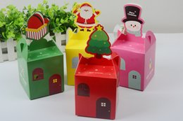 Wholesale Wholesale Christmas Decorative Boxes - cartoon gift box Wedding candy fruit box colorful Christmas apple box Christmas eve apple folding cartons wen4509