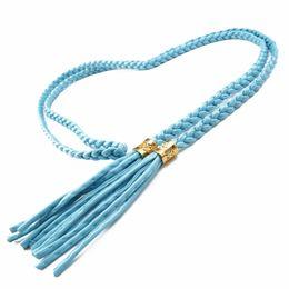 Wholesale Rope Belted Dress - Wholesale- Knitted Rope Women Belt Tassel Thin Belt Braided Waistband Cummerbund For Dress Shorts Jeans Skirt Apparel