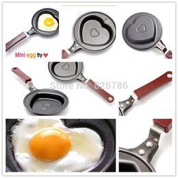 Wholesale Mini Heart Frying Pan - Mini egg fry Kitchen supplies breakfast love omelette pan pancake pan heart omelette pan jarhead without pot cover