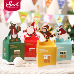 Wholesale Merry Christmas Baking - Wholesale- 10pcs lot Merry Christmas Series Cartoon Elk Joy Folding Apple Box Portable Biscuit Candy Gift Box for Kitchen Baking Package