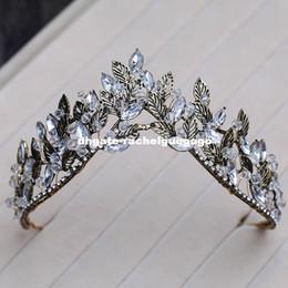 2019 chapéus verdes do fedora Liga preta folha coroa estilo europeu antigo palácio rainha tiara noiva acessórios para o cabelo de casamento coroa coroa