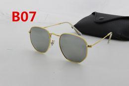 Wholesale Italian Brand Glasses - 1pcs fashion men and women high quality glass lens sunglasses 54mm Italian brand designer hexagonal gold sunglasses