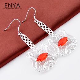 Wholesale Gem Guitars - ENYA HOT Wedding Jewelry Crystal Earrings Music Note Guitar Shaped Charm Fire Red Garnet Gems Earrings For Women E0216