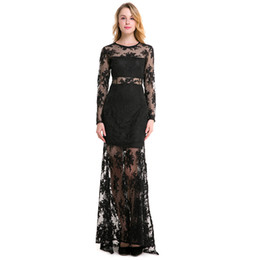 Wholesale Long Sleeve Mesh Peplum - Long Sleeve Lace Patchwork Embroidered Mesh Women's Maxi Evening Dress