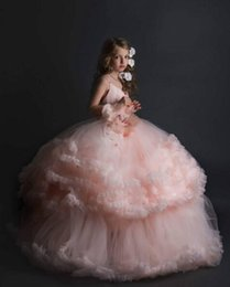 Wholesale White Blue Wedding Frocks - Gorgeous tutu pale blush flower girl dress ruffles with pearls pageant kid birthday toddler ball gown puffy evening party frocks