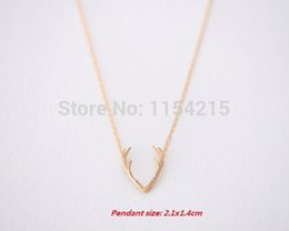 Wholesale Wholesale Antler Necklace - Wholesale-2016 New Arrival Hot Horn Necklace,Antler Necklace,Everyday Necklace, Unique Minimalist Jewelry, Christmas Gift Necklace EY-N056