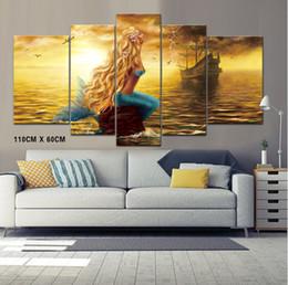 2019 lienzo abstracto de navidad pinturas Arte de la pared sin marco de pinturas de sirena y barco pirata