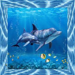 Wholesale Modern Marine - Wholesale- photo wallpaper silk cloth wallpaper Marine life dolphin backdrop modern decorative painting 3d large mural wallpaper