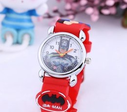 Wholesale Bracelet Boys - Fashion 3D Cartoon Cute Batman Wrist Watch Kids Boy Girl Silicone Band Watches Children Gifts