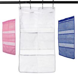 Acessórios de chuveiro on-line-Quick Dry Pendurado Caddy Bath Shower Organizer com 6-bolso Pendurar na Cortina de Chuveiro Haste / Forro Ganchos Malha Acessórios Do Banheiro
