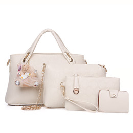 Wholesale Yellow Corduroy Fabric - New fashion handbags embossed four piece ladies bag shoulder diagonal handbag