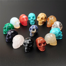 Wholesale Skull Heads Beads - Mixed Stone Obsidian Rose Quartz Agate Bead Carved Drilled Hole Human Skull Head Crystal Reiki Healing Statue Figurine Collectible by Random