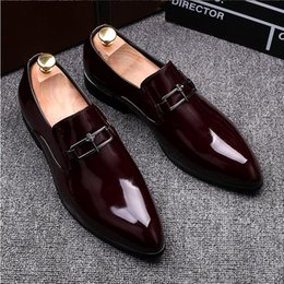 Wholesale Solid Burgundy Prom Dresses - 2017 New Style Italian Luxury Patent Leather Men's Handmade Loafers Fashion Banquet Prom Men Dress Wedding Shoes Casual GX84