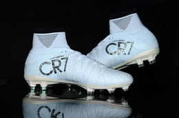 Wholesale Mens Sneakers Spikes - 2017 Original Cristiano Ronaldo Mercurial Superfly v FG CR7 Football Boots White Golden Soccer Shoes mens Training Sneakers Soccer Cleats